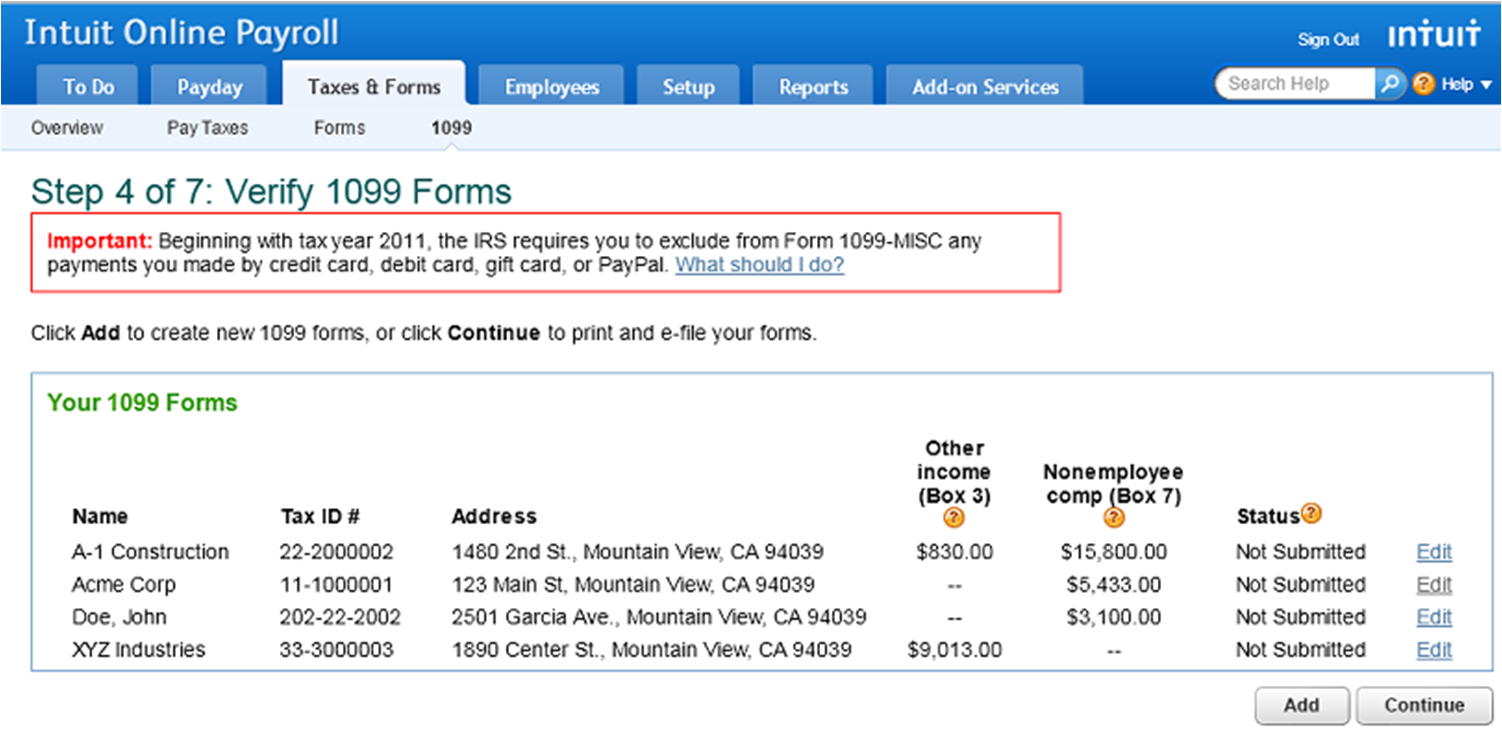 1099 e file service intuit online payroll setup troubleshooting