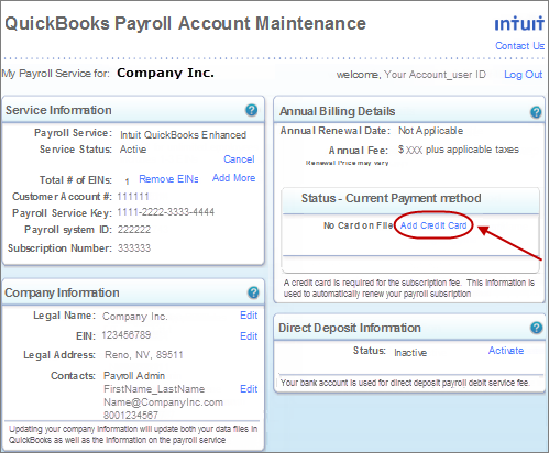 Update billing information for your quickbooks payroll subscription