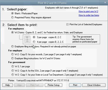 Print W-2 forms