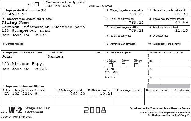 W2 form 2012 sample