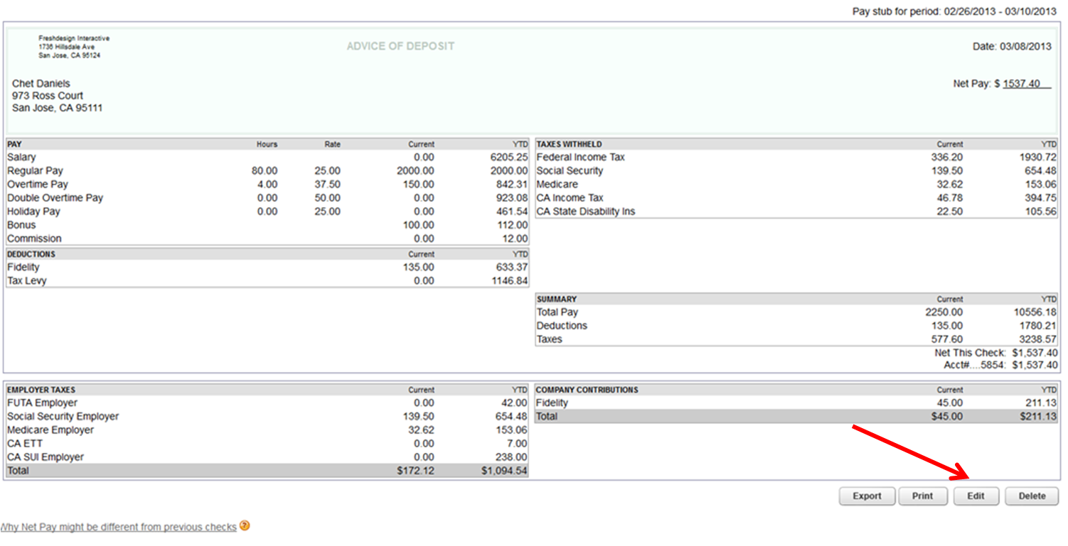 quickbooks payslip template - free editable pay stub template search results