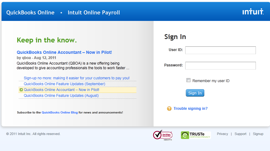 Resetting your user ID or password for QuickBooks Online ...