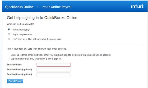 To enter the user id associated with your quickbooks online account