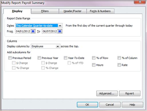Quickbooks payroll summary report