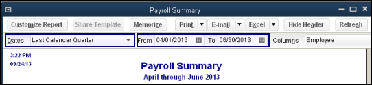 Create a payroll summary report