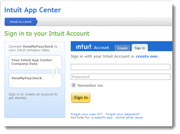Viewmypaycheck sign in with your existing intuit account