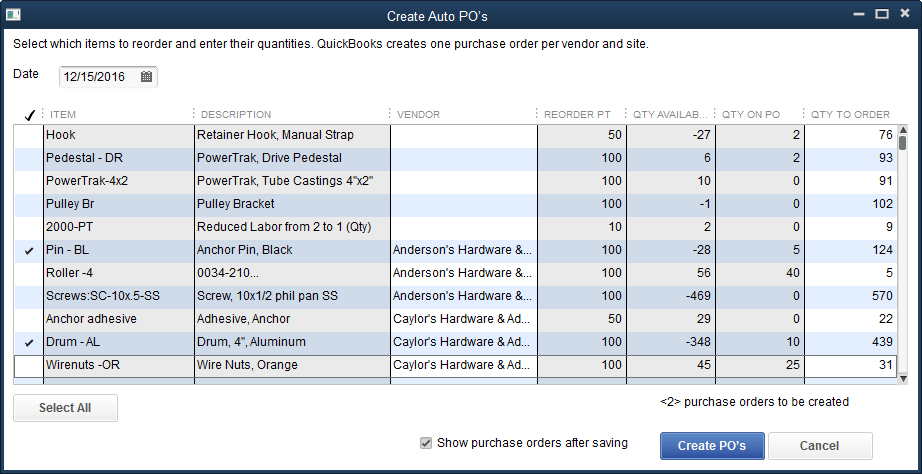 quickbooks pos inventory