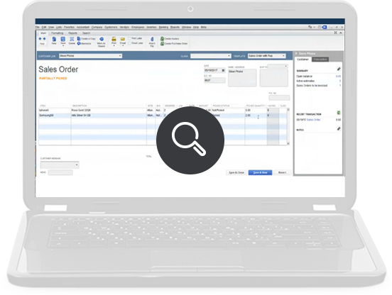 Screenshot: QuickBooks creates a Sales Order