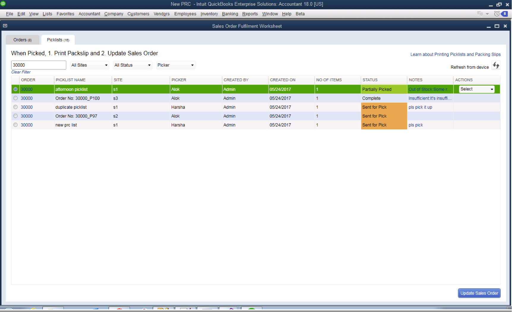 Screenshot: Quickbooks syncs the order once the picker is finished